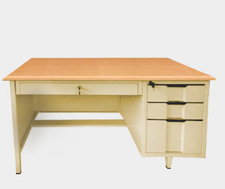 Knock Down Computer Desk With Storage , Thick Metal 3 Drawer Desk Smooth Surface