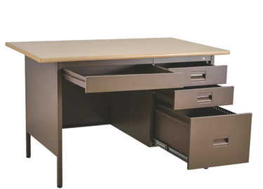 4 Drawer Base Stainless Steel Computer Desk , Wooden Desktop Office Computer Desks