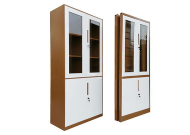 Half Height Foldable Storage Cabinets Glass Door Brown Color Fast Assemble
