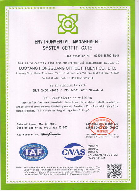 China Luoyang Forward Office Furniture Co.,Ltd Certification